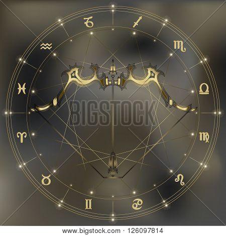 Golden bow and arrow zodiac Sagittarius sign for astrological predestination and horoscope