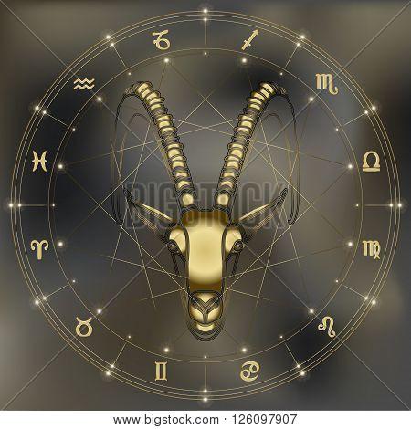 Golden goat portrait zodiac Capricorn sign for astrological predestination and horoscope