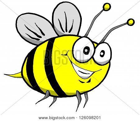 Vector Cartoon of a Happy Bumble Bee in Flight