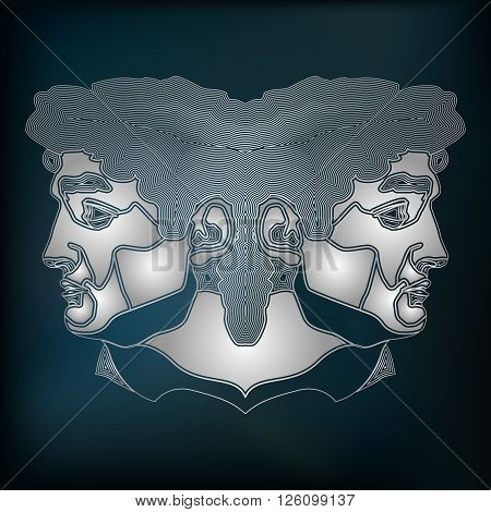 Silver twins zodiac Gemini sign for astrological predestination and horoscope