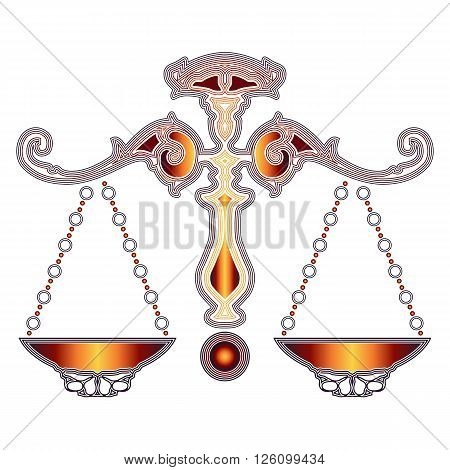 Bright colorful scales zodiac Libra sign for astrological predestination and horoscope