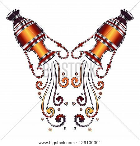 Bright colorful amphora with falling water zodiac Aquarius sign for astrological predestination and horoscope