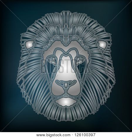 Silver lion head zodiac Leo sign for astrological predestination and horoscope