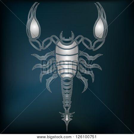 Silver scorpion zodiac Scorpio sign for astrological predestination and horoscope