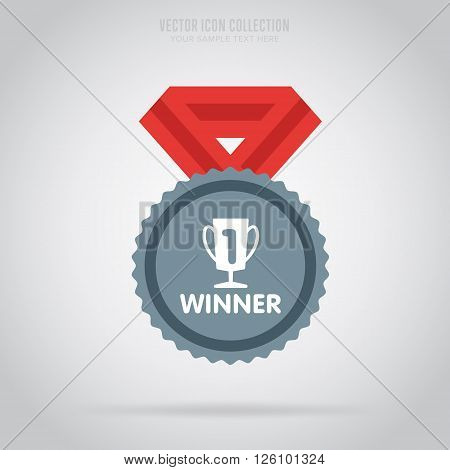 Winner badge. Winner medal. Flat medal. Award for winner. Winner icon. Vector winner medal. Isolated winner medal. Winner vector concept. Winner cup on medal. Medal with ribbon.