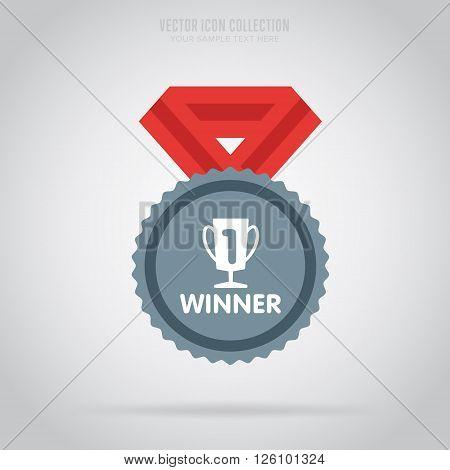 Winner badge. Winner medal. Flat medal. Award for winner. Winner icon. Vector winner medal. Isolated winner medal. Winner vector concept. Winner cup on medal. Medal with ribbon.