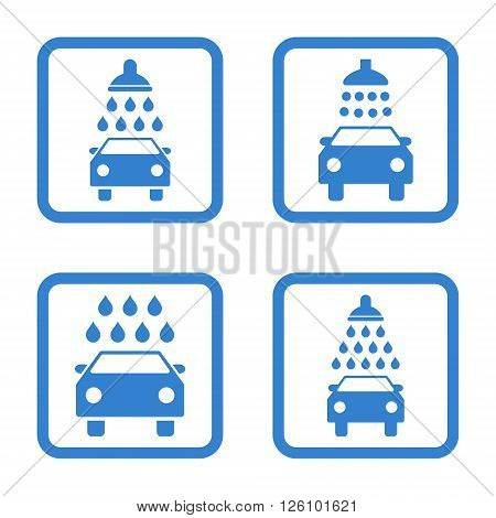 Carwash vector icon. Image style is a flat icon symbol inside a square rounded frame, cobalt color, white background.
