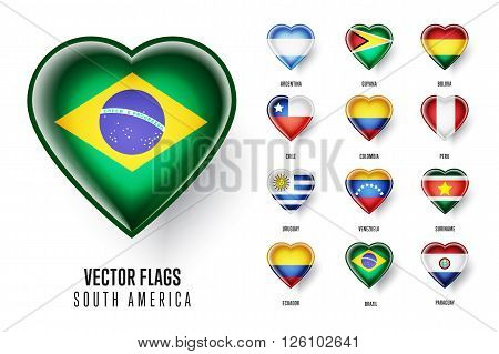Vector flags icon of countries of South America. Brazil, Guyana, Bolivia, Chile, Colombia, Peru, Uruguay, Venezuela, Suriname, Ecuador, Paraguay.