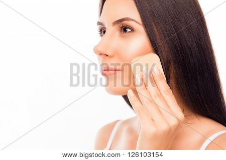 Side View Portrait Of Pretty Girl Evens Skin Tone Of Her Face