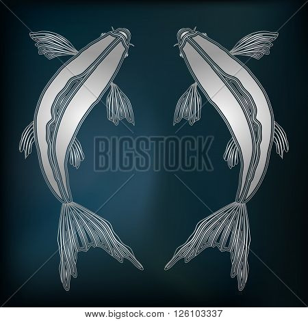 Silver fishes zodiac Pisces sign for astrological predestination and horoscope