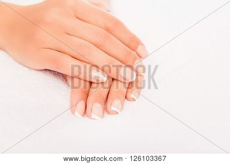 Close Up Photo Of Woman's Hands With Perfect Manicure