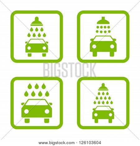 Carwash vector icon. Image style is a flat icon symbol inside a square rounded frame, eco green color, white background.