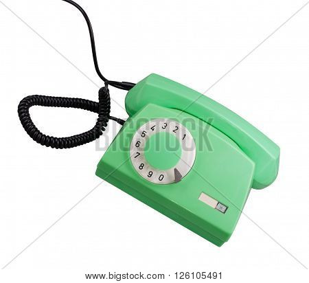 image of one Old Green Rotary Telephone isolated
