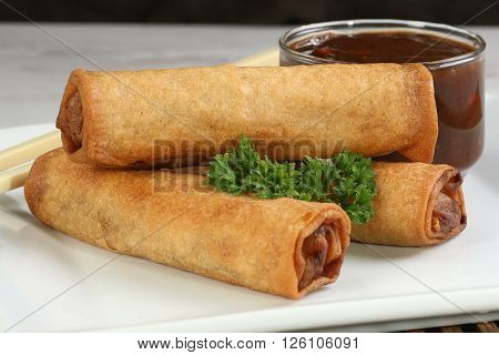 asian chinese food vegetable spring rolls with dipping sauce