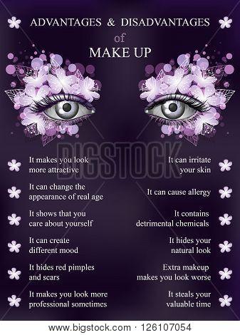 Advantages and disadvantages of makeup spring violet art flower makeup infographics