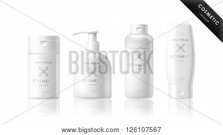 Realistic cosmetic bottle mock up set isolated pack on white background. Cosmetic brand template. Vector cosmetic packaging. Shampoo pack. Blank cosmetic package collection. Cosmetics beauty products. Cosmetic isolated product. 3d cosmetic bottle. Plastic