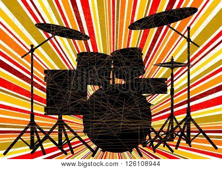 Silhouette of a rock bands drum kit over a ray splash grunge background