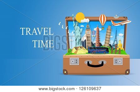 Trip to World. Travel to World. Vacation. Road trip. Tourism. Travel banner. Open suitcase with landmarks. Journey. Travel and adventure template, travel time. vector illustration in flat design