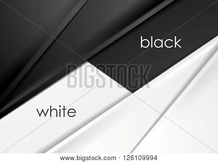 Smooth silk abstract black and white corporate background. Vector graphic design