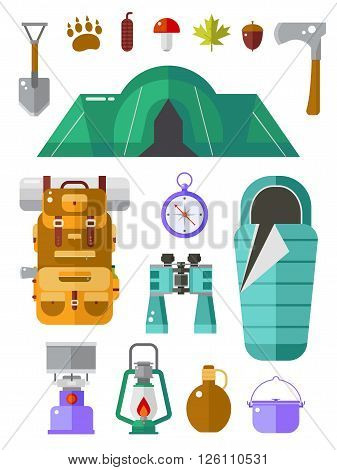 Camping vector icons collection. Basecamp kit. Hiking equipment. Camp gear collection. Binoculars pot backpack sleeping bag lantern compass flask tent and forest elements. Summer travel set.