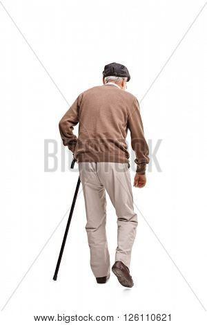 Rear view vertical shot of an old man walking with a black cane isolated on white background
