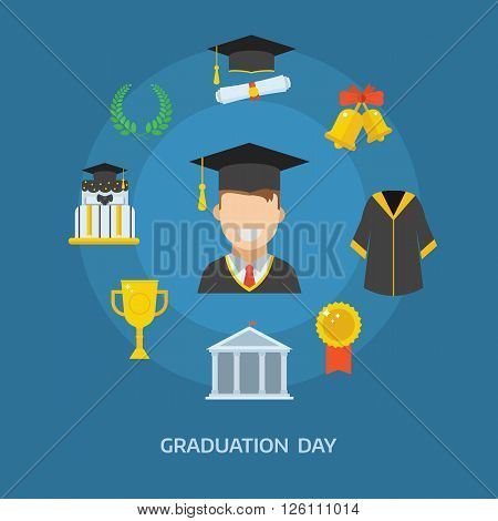 Graduation day concept with celebration cartoon elements. Happy student guy with icons of school wreath insignia trophy pie graduational cap diploma gown and bell. Graduate man smiling flat.