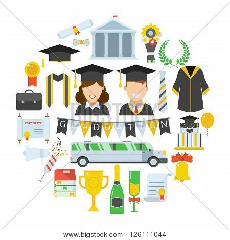 Graduation vector icon set of exam celebration elements in circe shape. Man and woman graduates in hats and isolated celebrating education party vector icons. Graduational hat diploma pictogram.
