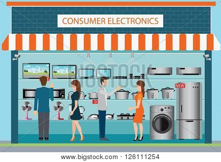 People in consumer electronics store laptops television Computers fan Toaster refrigerator washing machine kettle rice cooker air conditioner Iron and blender fruit on shelf vector illustration.