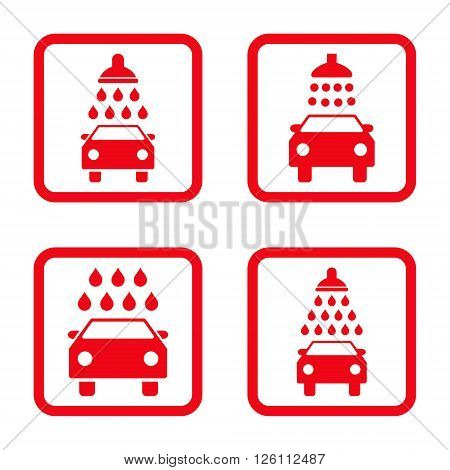 Carwash vector icon. Image style is a flat icon symbol inside a square rounded frame, red color, white background.
