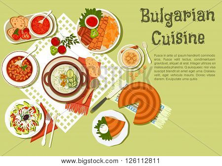 Festive bulgarian dishes flat icon with kebabs served with fried potatoes and tomato sauce, cold yogurt soup tarator with cucumbers, vegetable salad with brine cheese, bean stew, tomato soup, banitsa pie with cheese, yogurt dessert with fried pastries