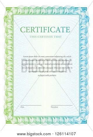 Certificate. Template diplomas currency. Award background Vector