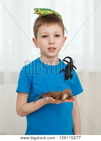 Boy Playing With Dinosaur Toys