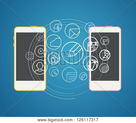 Information transfer scheme. Design elements poster