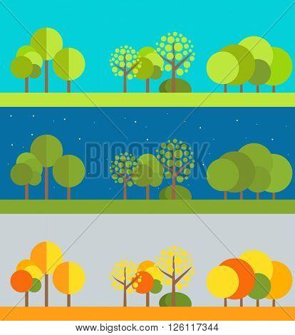 Different wheather flat design illustrations set