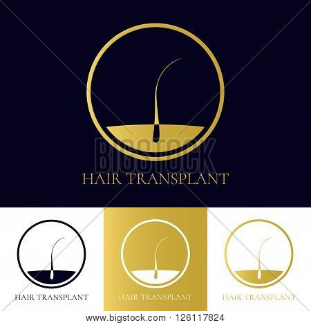 Hair transplant logo template. Hair loss treatment concept. Hair medical diagnostics label. Hair follicle icon. Hair bulb symbol. Perfect for hair clinics or diagnostic centres. Vector illustration.