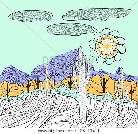 Vector Desert wild nature landscapes with cactus and mountain background for coloring page. Cactus plants in desert Mexican desert -illustration hand drawn in black and white for coloring book for adult