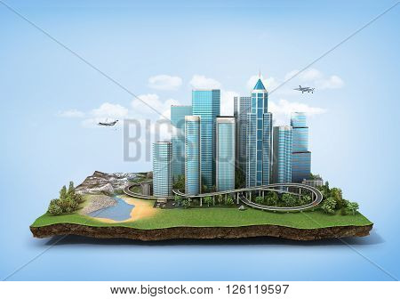 Concept of eco city. Modern city with skyscrapers highway and cars surrounded by nature landscape on the patch of land. 3d illustration