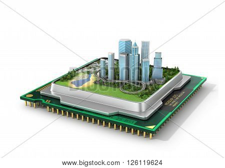 Concept of eco technology. Eco-city Smart city. Green city in processor. Green industry. 3d illustration
