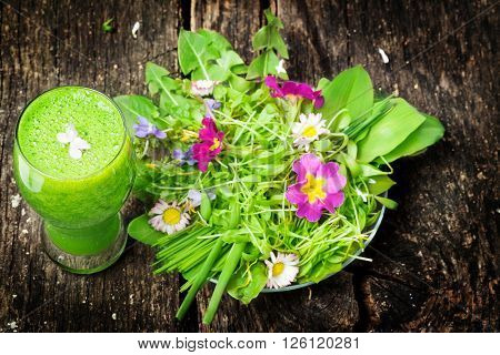 Green smoothie and salad of wild herbs