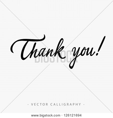 Black calligraphic Thank you inscription on white background