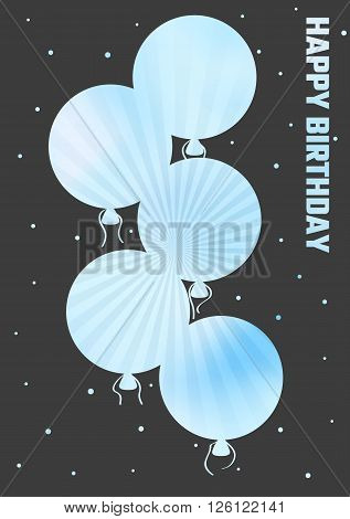 Birthday Illustration With Color Ballons