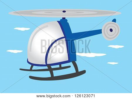 Vector illustration of blue cartoon helicopter with round wraparound glass flying in mid air.