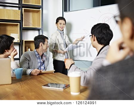 young asian business executive facilitating a discussion or brainstorm session in meeting room. poster