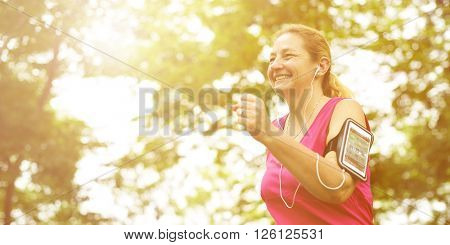 Runner Woman Active Healthy Lyfestyle Concept
