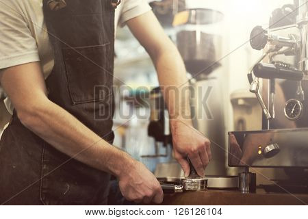 Barista Coffee Machine Making Press