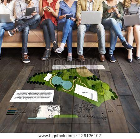 Public Central Park Village Community Relaxation Plan Concept