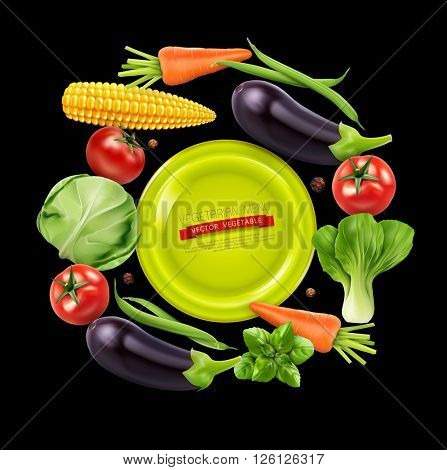 vector background with vegetables in a circle (tomato, cabbage, eggplant, peppers, corn, beans, carrots) isolated on black background
