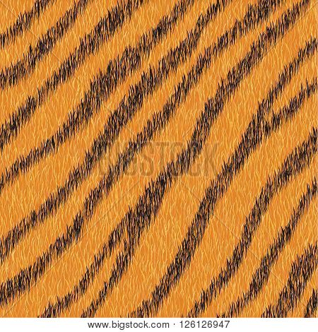 Vector fur background. Seamless animal striped pattern. Tiger skin for fashion design.