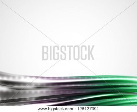 Shiny metallic wave curtain. Abstract background, vector