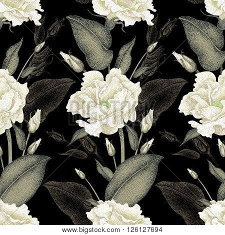 Seamless vector floral pattern. Illustration roses in Victorian style. Vintage luxury decoration of garden roses. Series flower design in a unique technique. Bouquets of roses on a black background.